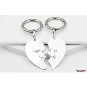 NOI DOI Set 2 brelocuri SPLIT HEART 43mm TEXT