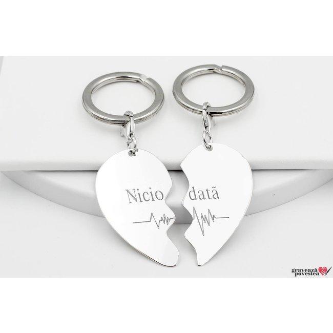 Brelocuri cuplu/ prietenie jumatati inima 43 mm personalizate gravura text Argint 925 rodiat