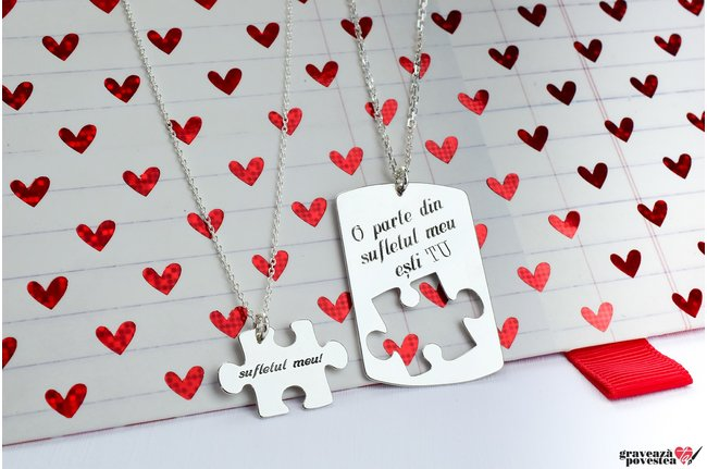 NOI DOI Set 2 coliere YOU ARE MY PUZZLE 38mm TEXT
