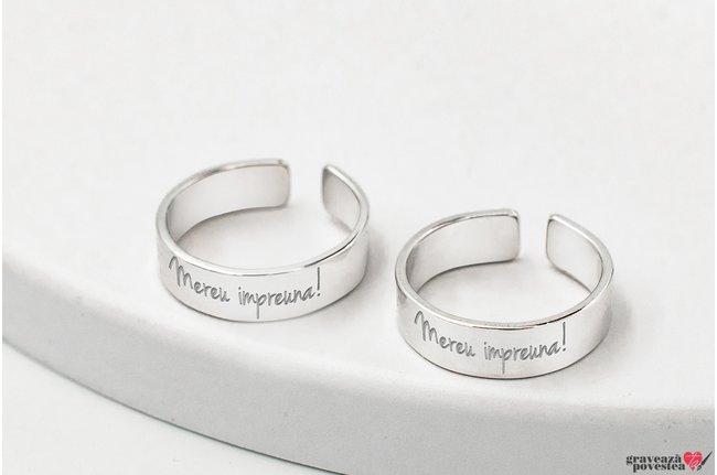 Inele cuplu tip verighete 5 mm personalizate gravura text Argint 925 rodiat