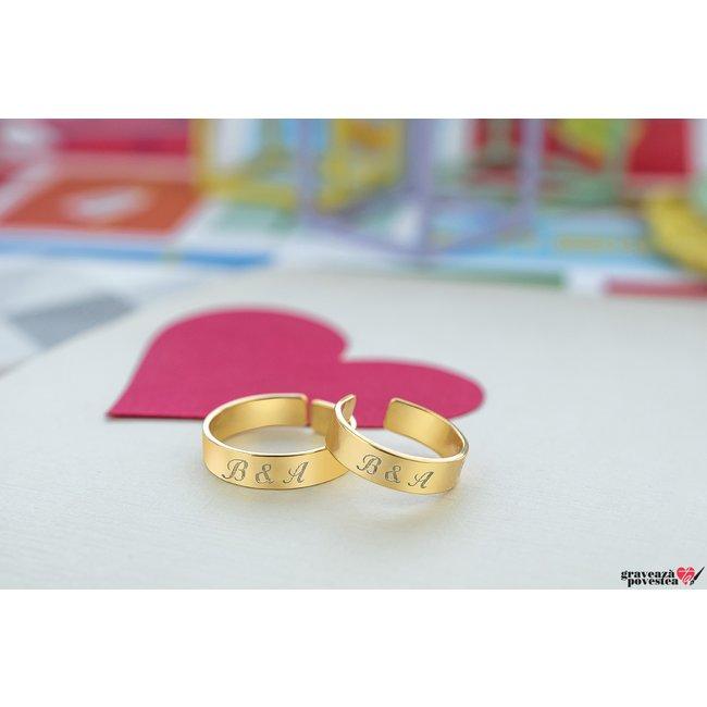 NOI DOI Set 2 inele tip verigheta UNISEX RING 5mm TEXT din argint masiv placat cu aur