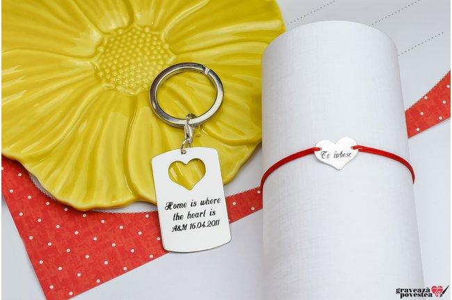 Breloc si bratara cuplu/ prietenie placuta si inima 38 mm personalizate gravura text Argint 925 rodiat