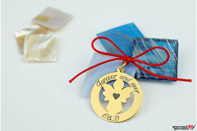 Pandantiv ANGEL COIN 22mm TEXT placat cu aur