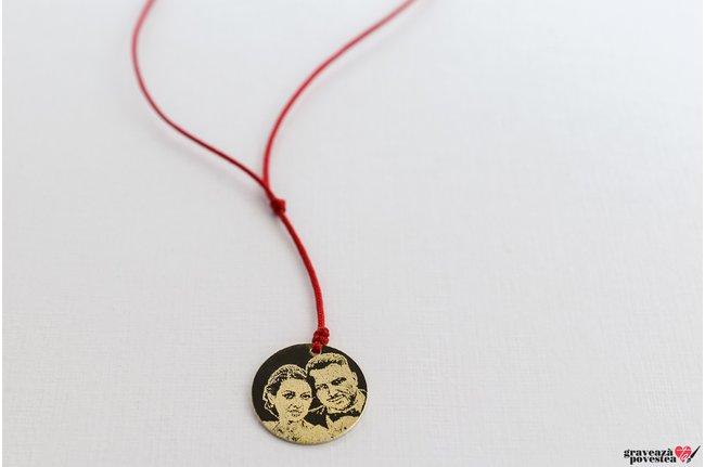 Colier COIN 16.5mm FOTO placat cu aur
