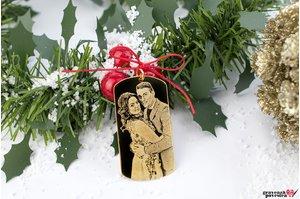 Pandantiv FOR HIM - THE LARGE PLATE 50mm FOTO placat cu aur