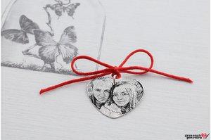Pandantiv HEART 20mm WHITE GOLD 14K FOTO