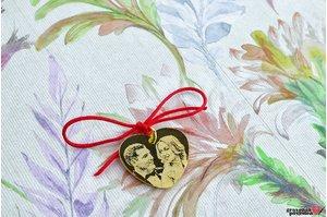 Pandantiv HEART 20mm FOTO placat cu aur