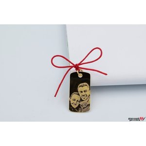 Pandantiv PLATE 28mm FOTO placat cu aur