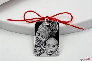 Pandantiv placuta 30 mm personalizat gravura foto Argint 925 rodiat