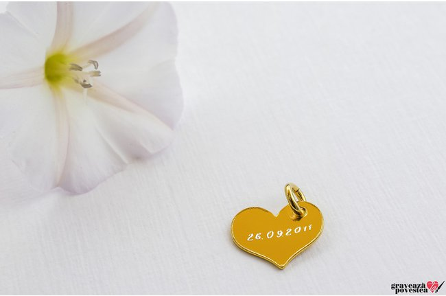 Pandantiv SUPLIMENT bratara/colier MY HEART 12mm TEXT placat cu aur