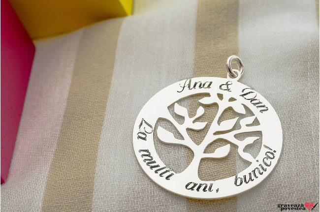 Pandantiv copacul vietii 28 mm personalizat gravura text Argint 925 rodiat
