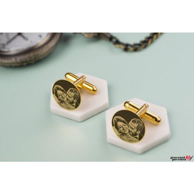 Set 2 butoni camasa COIN 15mm FOTO placati cu aur
