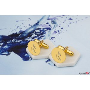 Set 2 butoni camasa COIN 15mm TEXT placati cu aur
