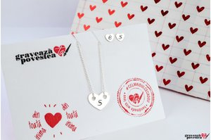 Set Colier si Cercei THE HEART 15mm TEXT