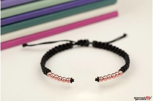 Bratara SUPLIMENT Silver Beads (Snur impletit) placata cu aur roz
