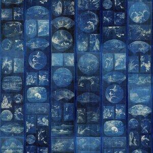 Aizome Collage Set 3 role tapet, Netesut, Albastru