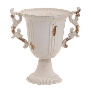 Apollo Vas decorativ inalt, Metal, Alb