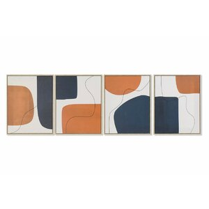 Arbaaz Set 4 tablouri, Canvas, Albastru