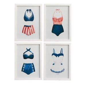 Bath Suit Set 4 decoratiuni perete, Lemn, Alb