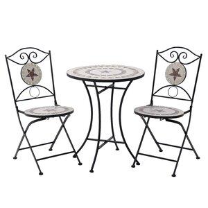 Castrosic Set masa si 2 scaune exterior, Fier, Negru