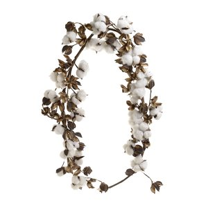 Coto Ghirlanda flori bumbac, Textil, Alb
