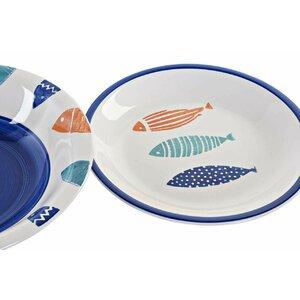 Daanyaal Set de masa 18 piese, Ceramica, Albastru