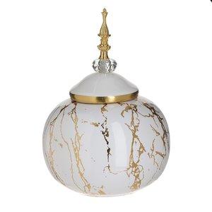 Daria Vas decorativ cu capac, Ceramica, Alb