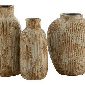 Embo Round Vaza, Ceramica, Crem