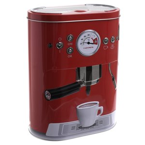 Espresso Recipient cu capac, Metal, Rosu
