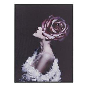 Flower Tablou bust femeie, Canvas, Multicolor