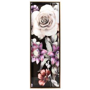 Flower Tablou flori, Lemn, Multicolor