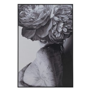 Flower Tablou portret femeie, Canvas, Gri