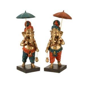Ganesha Set 2 statuete, Polirasina, Multicolor