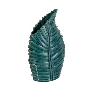 Leaf Olique Vaza, Ceramica, Albastru