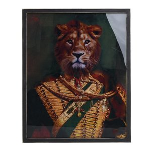 Lion Tablou leu, Lemn, Multicolor