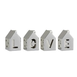 Love House Set 3 decoratiuni, Portelan, Argintiu