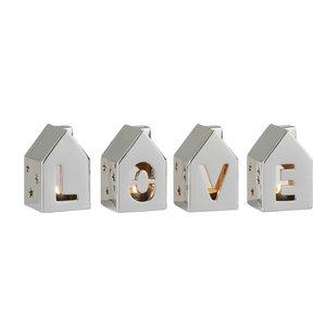 Love House Set 3 decoratiuni, Portelan, Argintiu