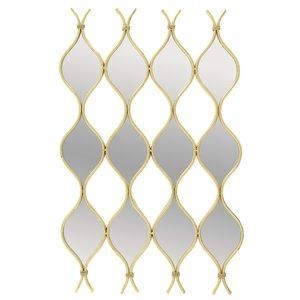 Nerve Decoratiune perete cu oglinda, Metal, Auriu
