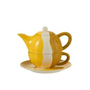 Olanic Set ceainic, cana si farfurioara, Ceramica, Galben