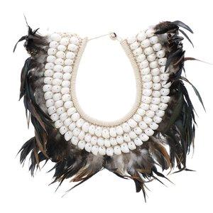Pearls Decoratiune perete pene, Scoica, Negru