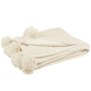 Pompom Pled, Textil, Crem
