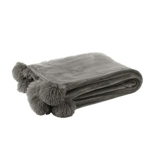 Pompom Pled, Textil, Gri