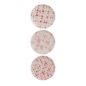 Raspberry Set 3 farfurii desert, Teracota, Alb
