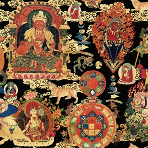 Tibetan Tapestry Metallic Tapet, Netesut, Multicolor