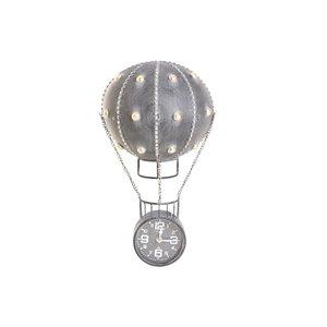 Verne Ceas perete balon zburator, Fier, Gri