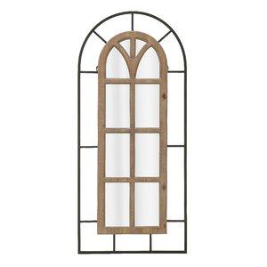 Window Decoratiune perete cu oglinda, Lemn, Maro