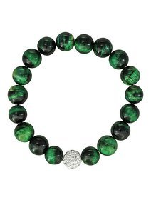 Bratara elastica cu pietre ochi de tigru in nuante de verde
