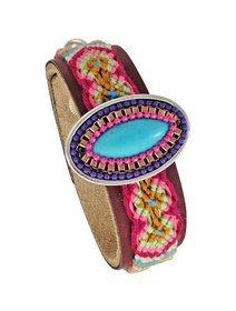 Bratara fashion din piele cu accesorii brodate si pandant turcoaz