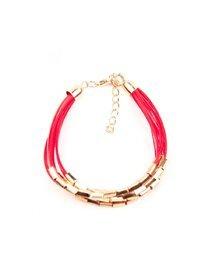 Bratara piele sintetica rosie, cu accesorii metalice, aurii