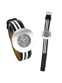 Ceas dama Crystal Blue® B&W Stripes
